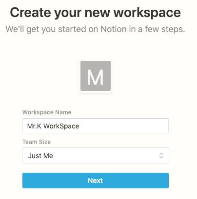 設定WorkSpace建立資訊