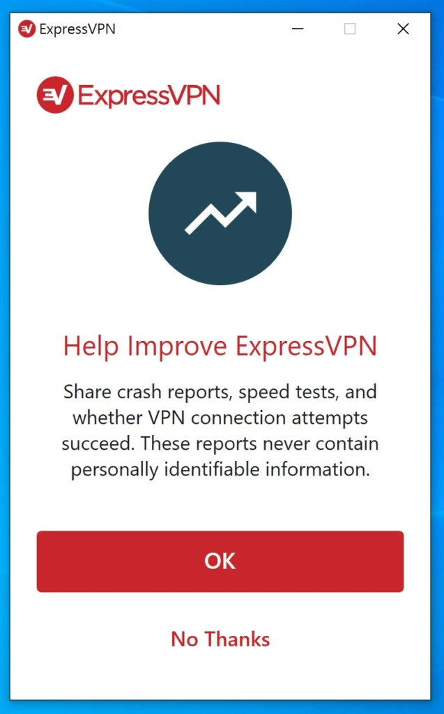 是否要將使用資料給ExpressVPN官方