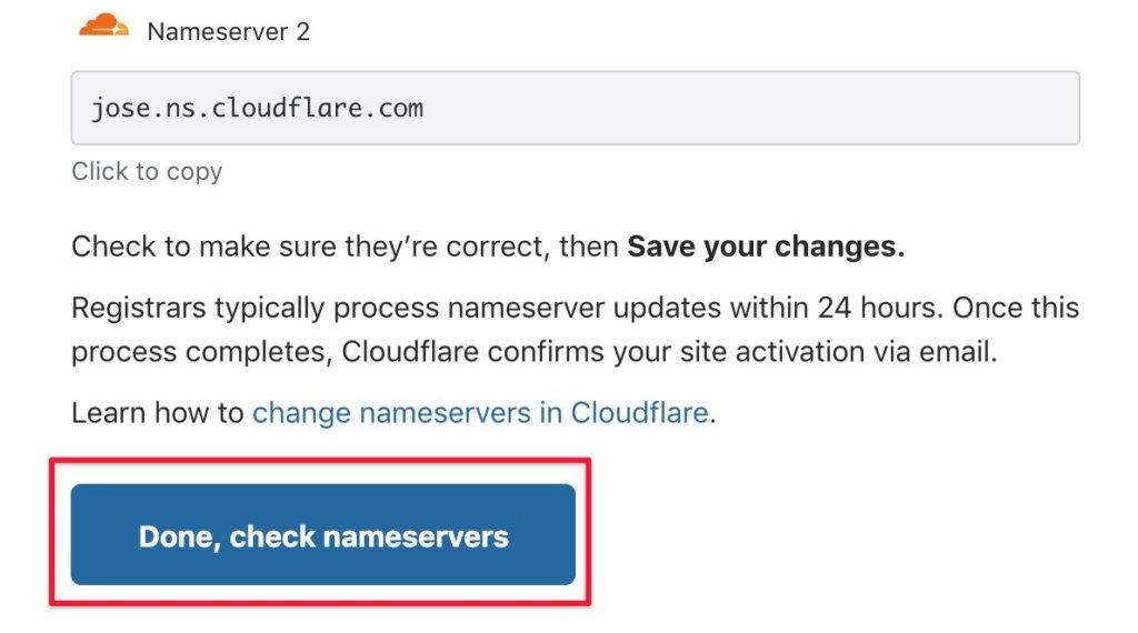 點擊「Done, check nameservers」
