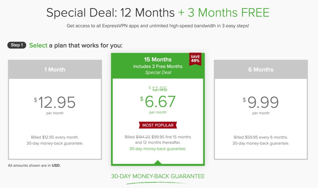 ExpressVPN評價-買12個月送3個月方案