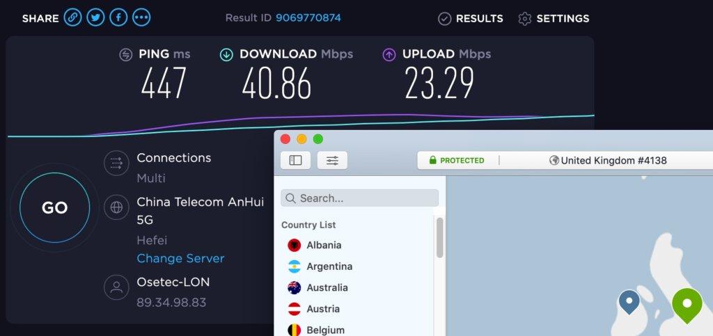 NordVPN評價-中國實測速度(連線至英國伺服器)