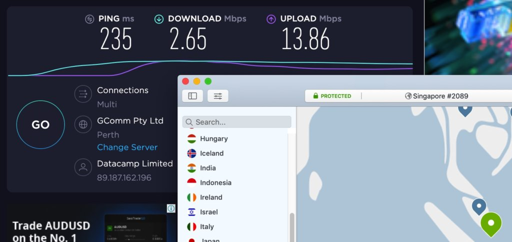 NordVPN評價-中國實測速度(手動連線到新加坡)