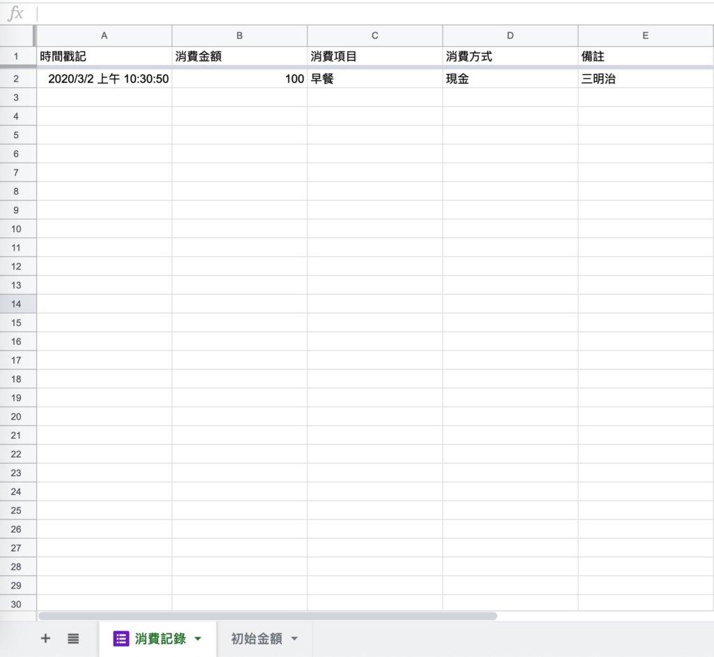 Google表單記帳術-建立消費記錄餘額區塊-切換到「消費記錄」表格