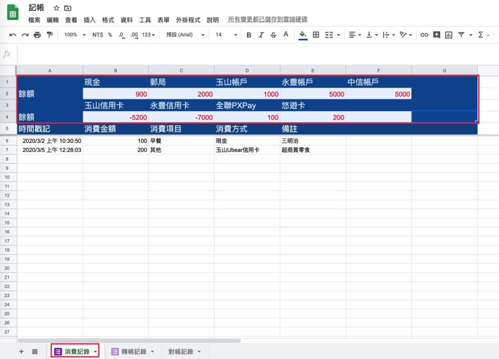Google表單記帳術-建立對帳表格-到消費記錄複製上方餘額區塊