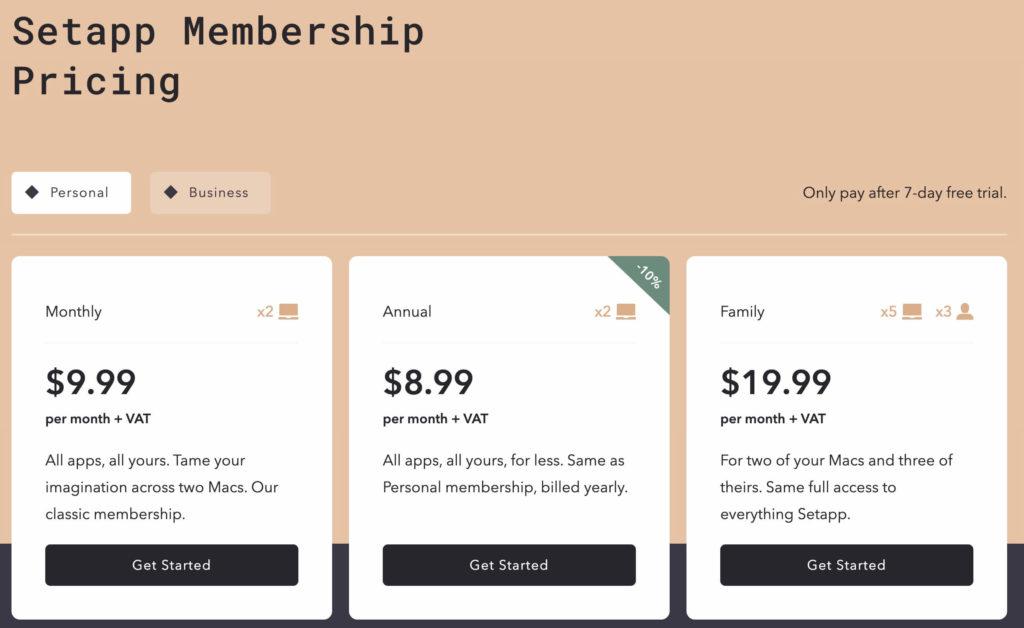 Setapp 訂閱會員價格畫面