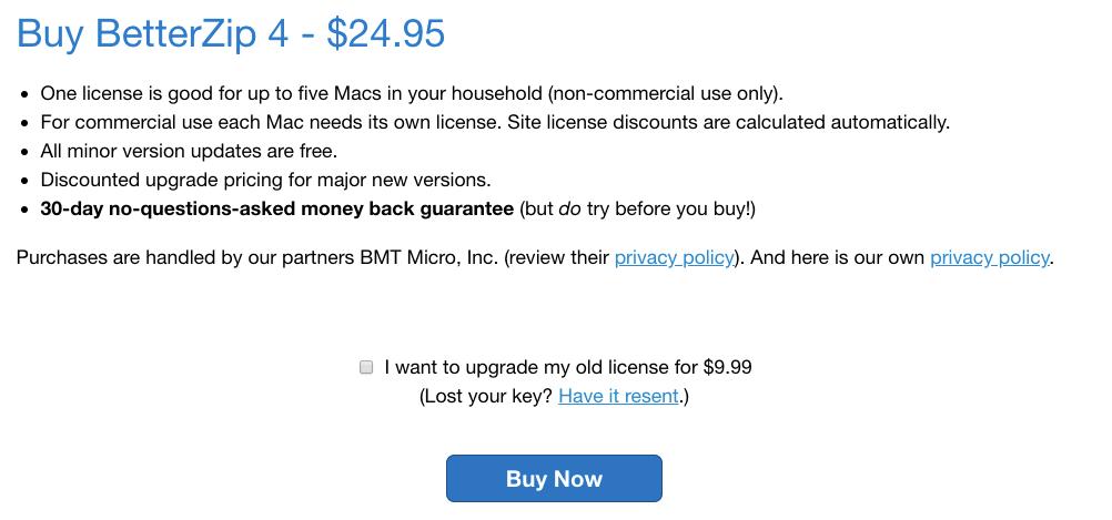 BetterZIP直接購買價格