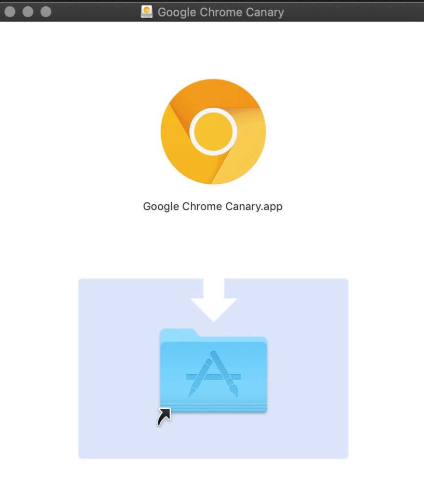 macOS 安裝 Google Chrome Canary 過程示意圖