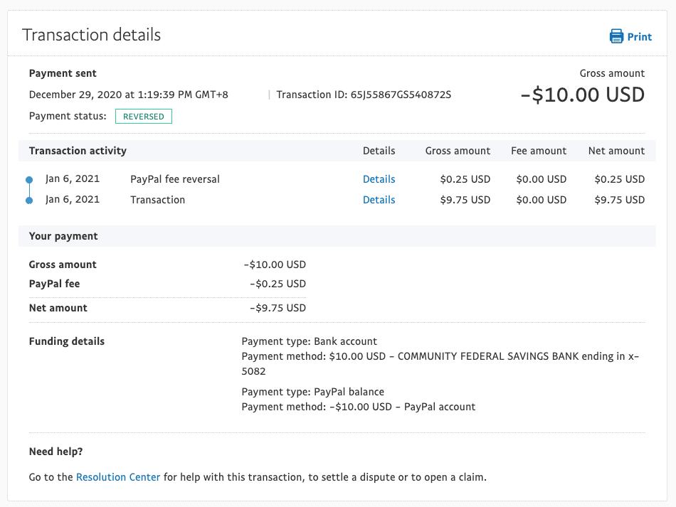 提領失敗 PayPal 會將手續費及本金全額退還